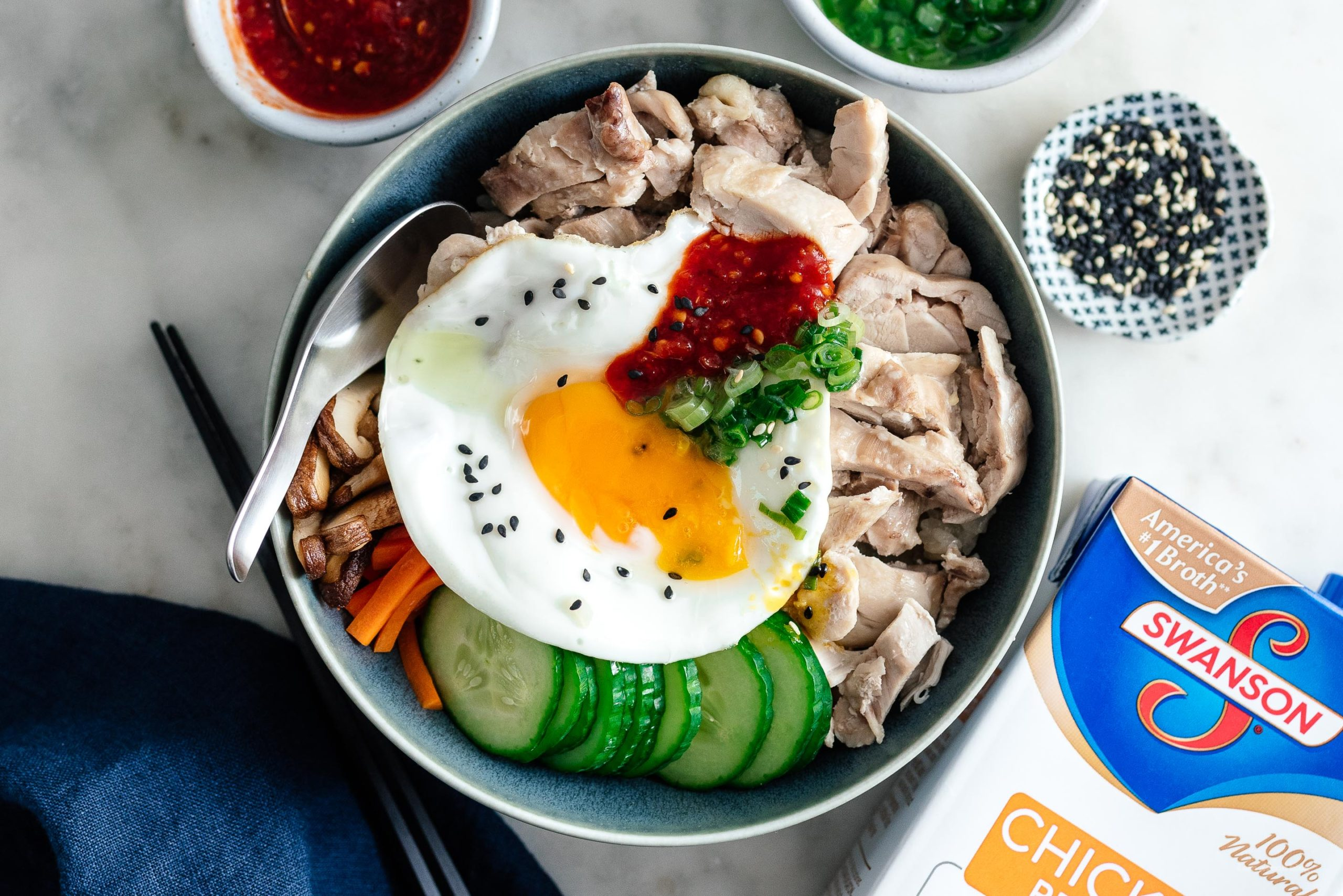 One Pot Hainanese Chicken Bibimbap Rice Bowl