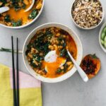 Spicy Chili Crisp White Bean and Barley Stew with Kale and Eggs | www.iamafoodblog.com