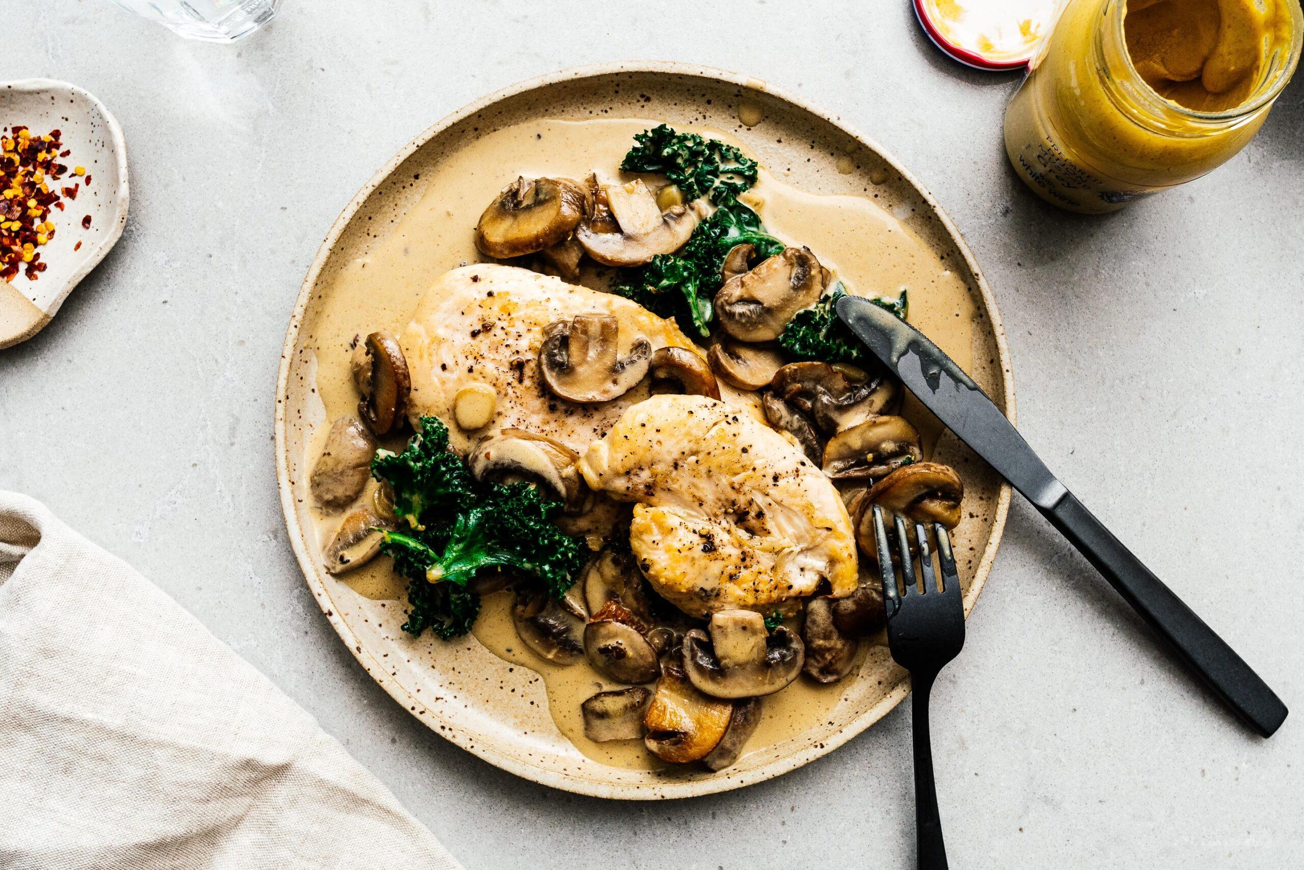One Pan Creamy Dijon Mustard Mushroom Chicken   www.iamafoodblog.com