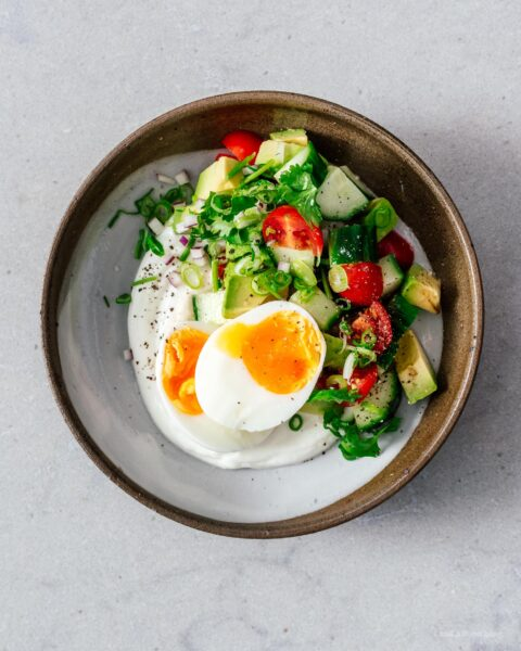Jammy Eggs and Yogurt Breakfast Bowl Recipe | www.iamafoodblog.com