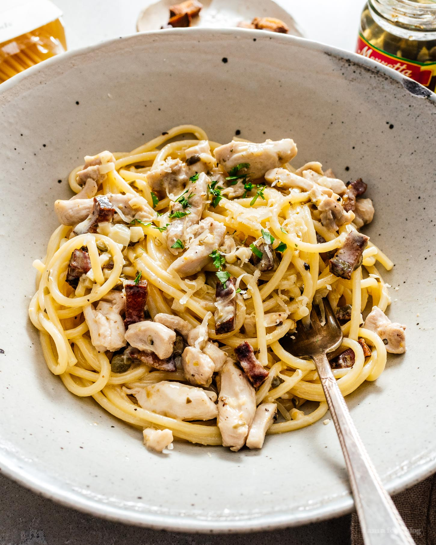 The Creamiest Creamy Chicken and Bacon Pasta Recipe | www.iamafoodblog.com
