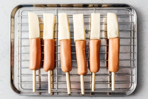 skewered hot dogs and cheese   www.iamafoodblog.com